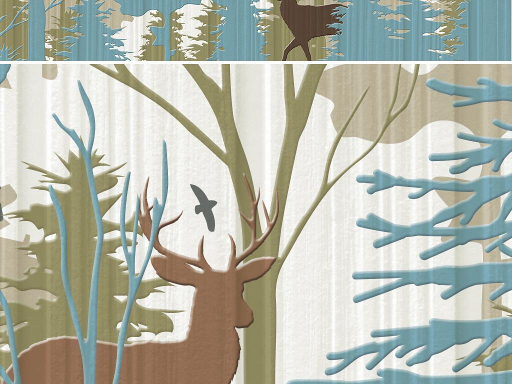 抽象手绘欧式怀旧驯鹿电视背景墙