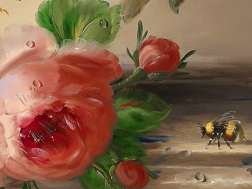 高清古典油画静物鲜花昆虫蜜蜂