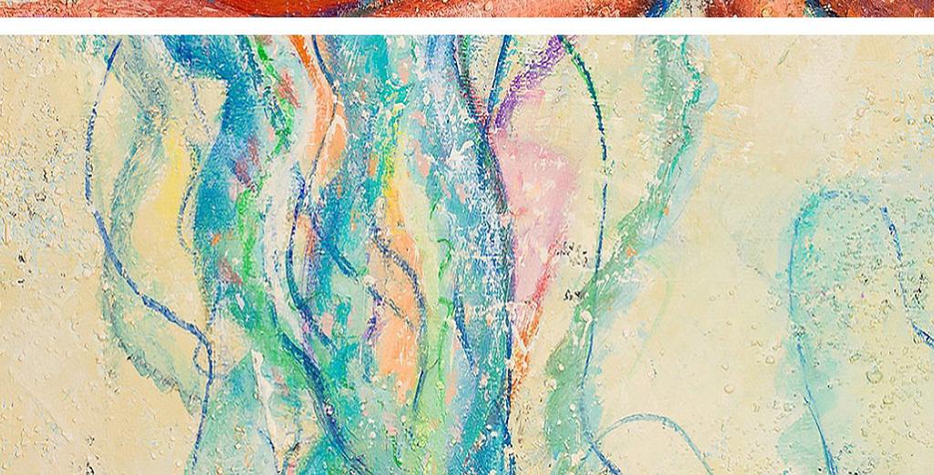 黄色章鱼乌贼蓝色梦幻海蜇水母动物油画