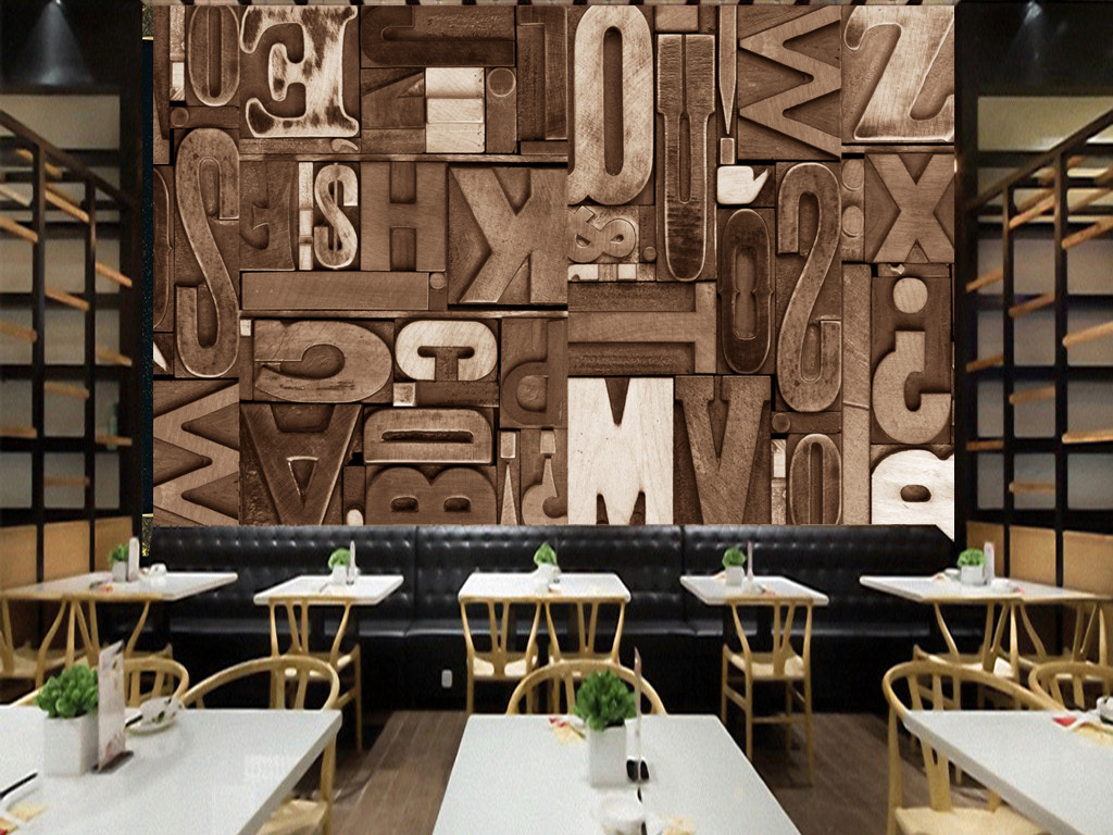 复古木板木刻英文字母酒吧餐厅咖啡厅背景墙