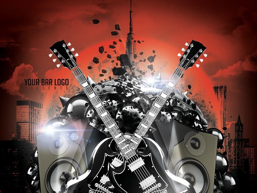 多色摇滚电音炫酷宣传海报psd模板图片设计素材_高清