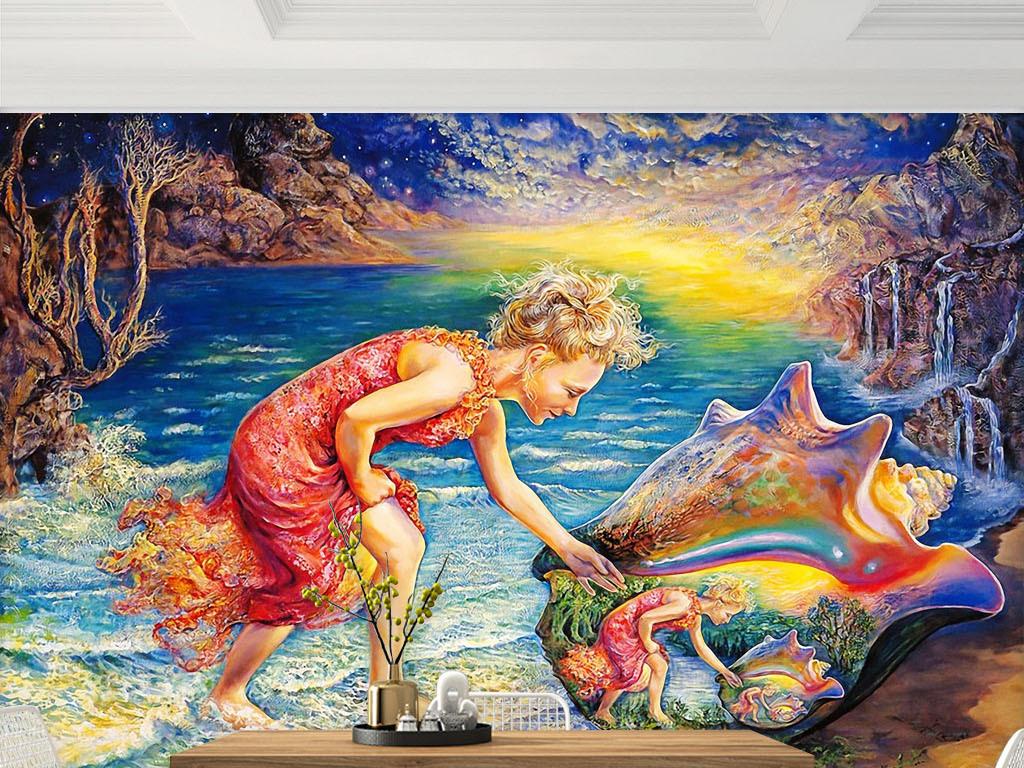 手绘图精灵品仙境儿童书房酒店ktv家工装修饰沙滩海滩海滩风景海滩