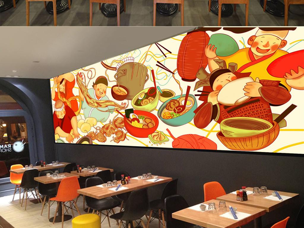 手绘彩色日本拉面饭店小吃店酒楼背景墙