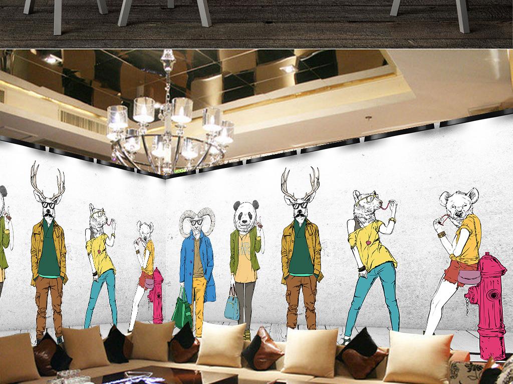 时尚动物模特服装店背景墙
