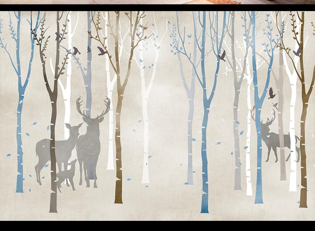 麋鹿鹿头手绘梅花鹿条纹梦幻森林
