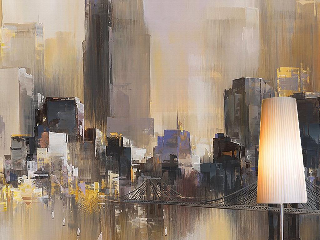 手绘复古怀旧城市建筑高楼大厦高档背景墙