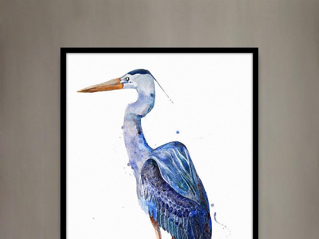 鸬鹚鱼鹰欧美水彩动物图案家居客厅装饰绘画