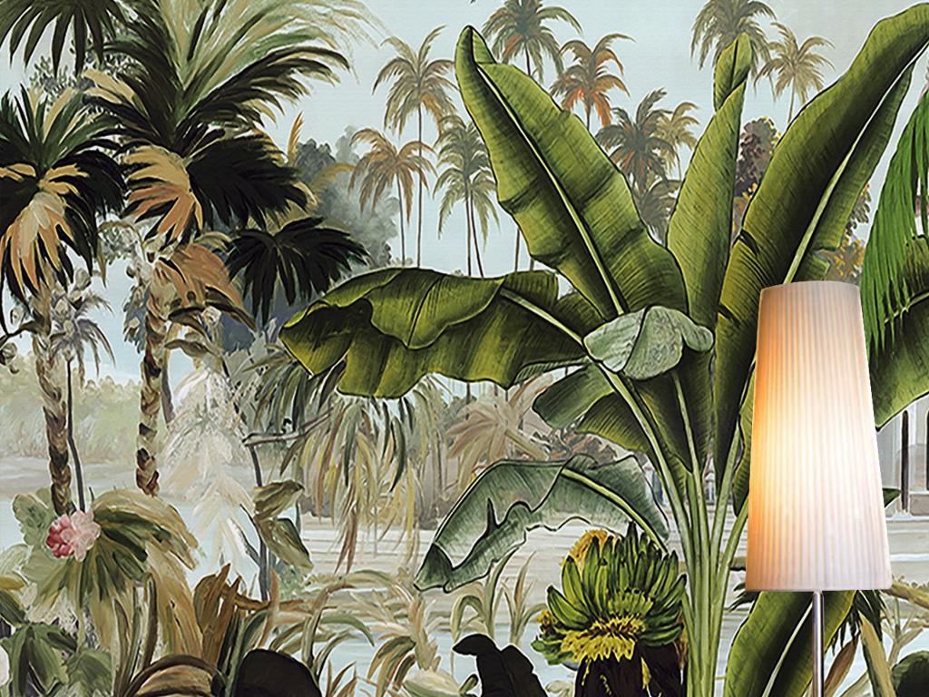绿色椰子树热带雨林植物立体油画背景墙