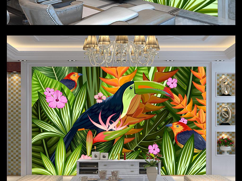 手绘热带雨林背景墙
