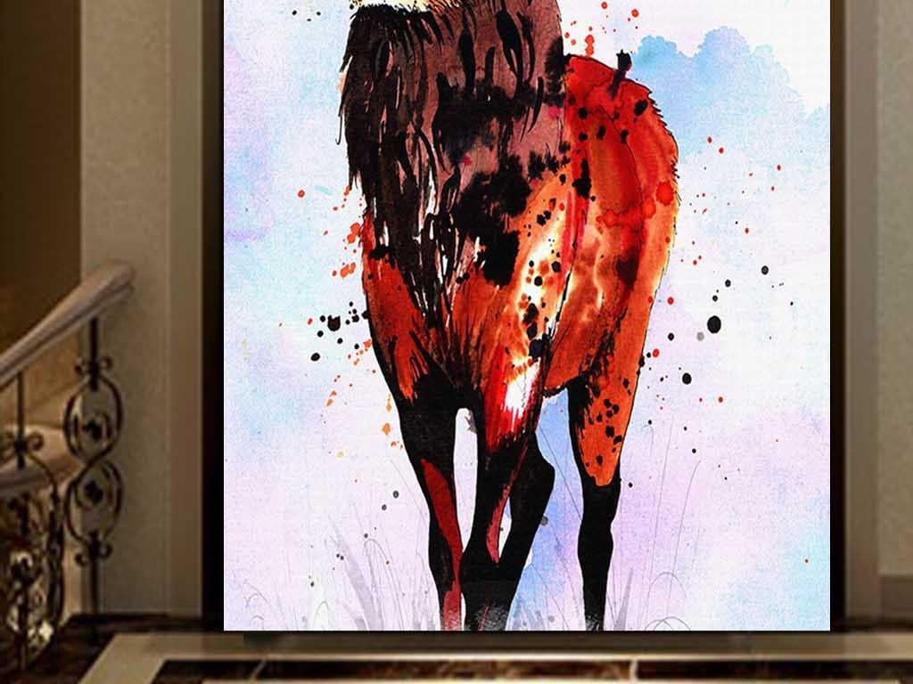 水彩手绘创意麋鹿现代玄关装饰画