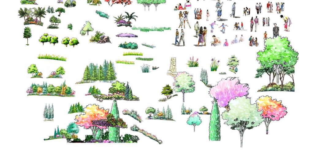 手绘园林景观建筑小品psd素材