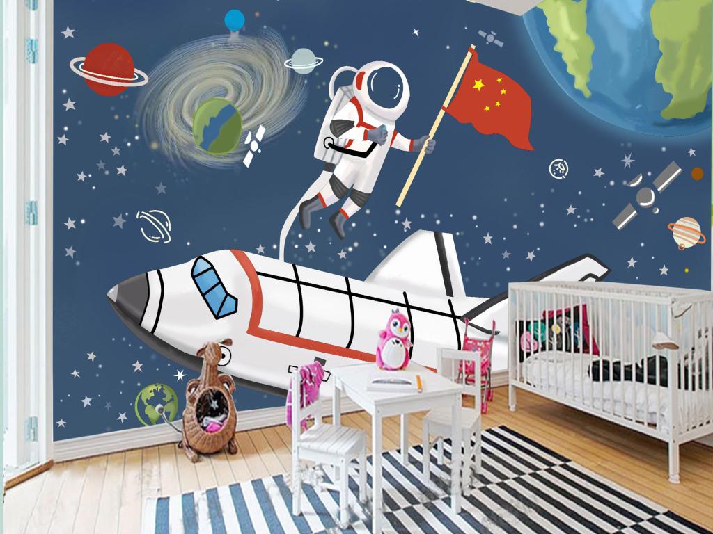 手绘太空宇宙儿童房卧室大型背景墙