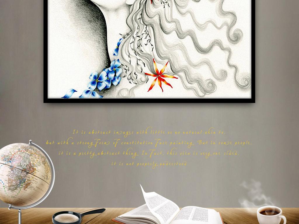 女孩卷发抬头铅笔画欧美现代家居客厅装饰画