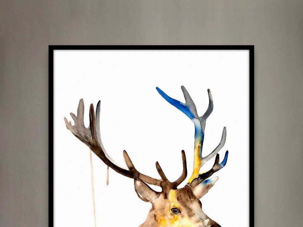 背景墙|装饰画 无框画 动物图案无框画 > 欧美水彩画麋鹿绘画现代家居
