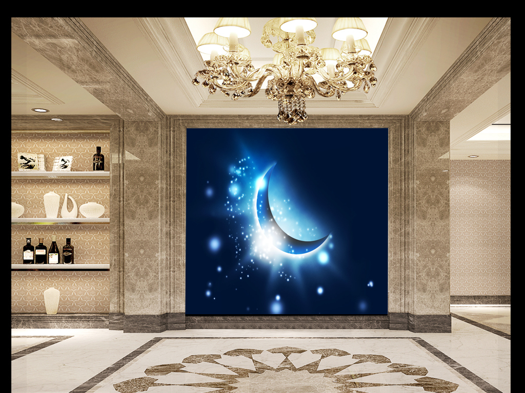3d立体梦幻唯美抽象手绘星空月亮船宇宙