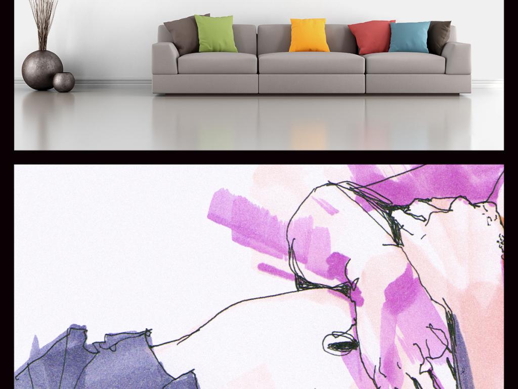 背景墙|装饰画 无框画 人物无框画 > 美女人体写生水彩画  版权图片