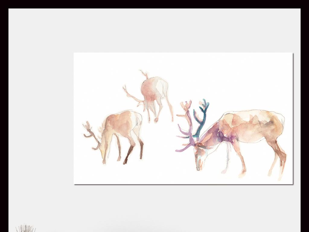 手绘水彩梅花鹿装饰无框画