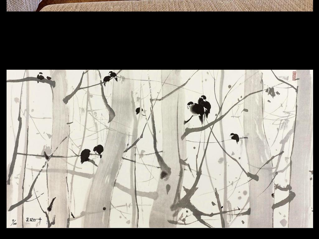 3d古典简约抽象手绘水墨树枝小鸟