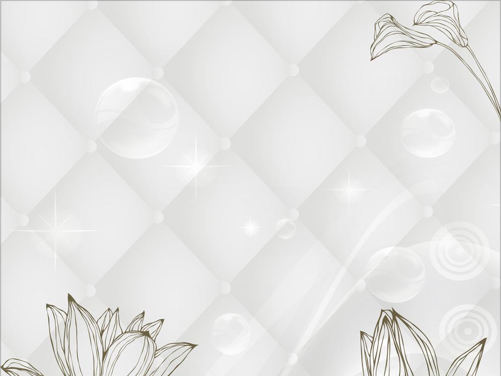 简约素雅线条荷花背景墙图片