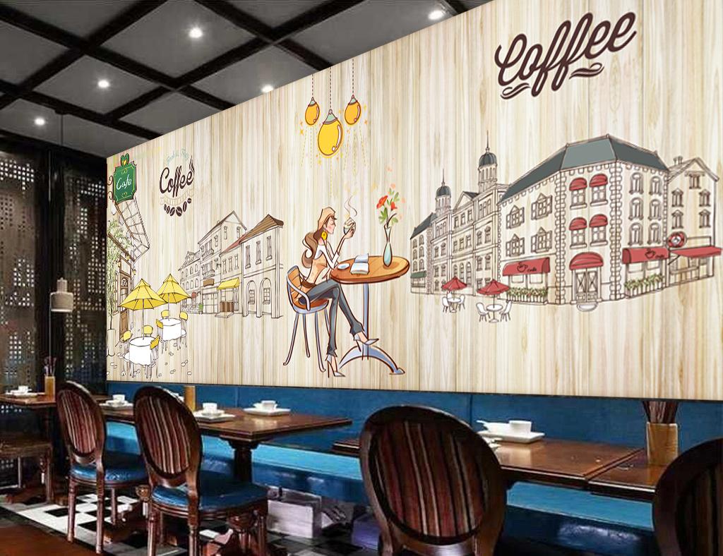 咖啡店木板手绘卡通背景墙