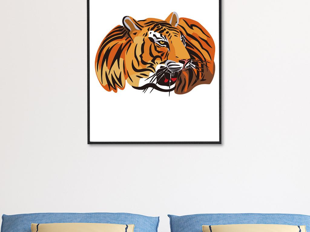 高清手绘彩色老虎无框画图片