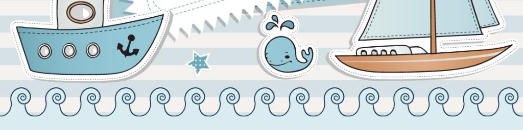 轮船游艇帆船海运飞机小鸟浪花蓝色背景相册鲸鱼儿童画广告设计卡通