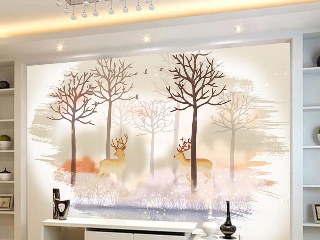 背景墙|装饰画 电视背景墙 手绘电视背景墙 > 现代简约北欧复古美式鹿