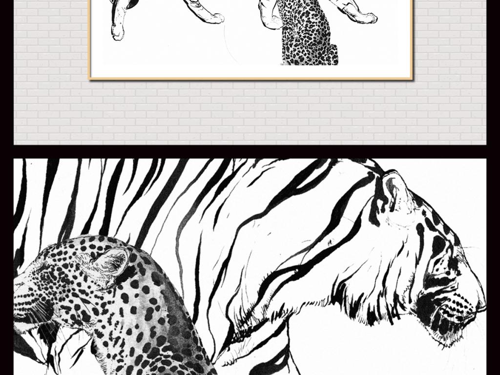 油画动物无框画动物油画抽象室内装饰画手绘水彩时尚猫科动物猛兽可爱