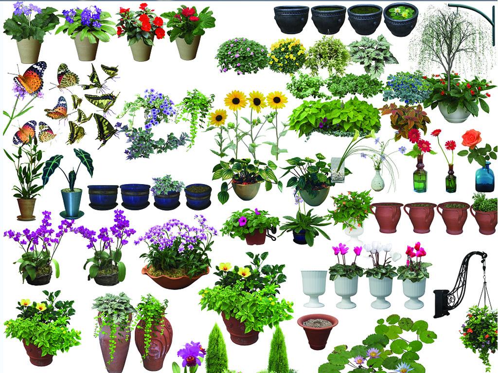 psd)园林花盆设计素材                                  盆栽素材