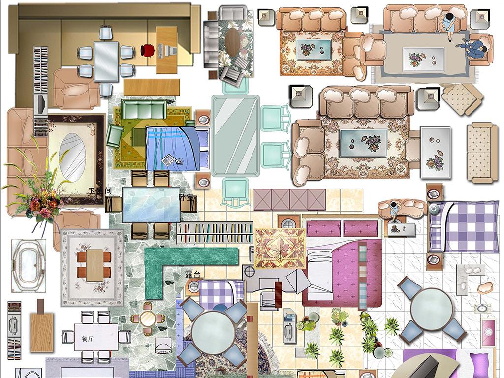 室内平面图手绘床