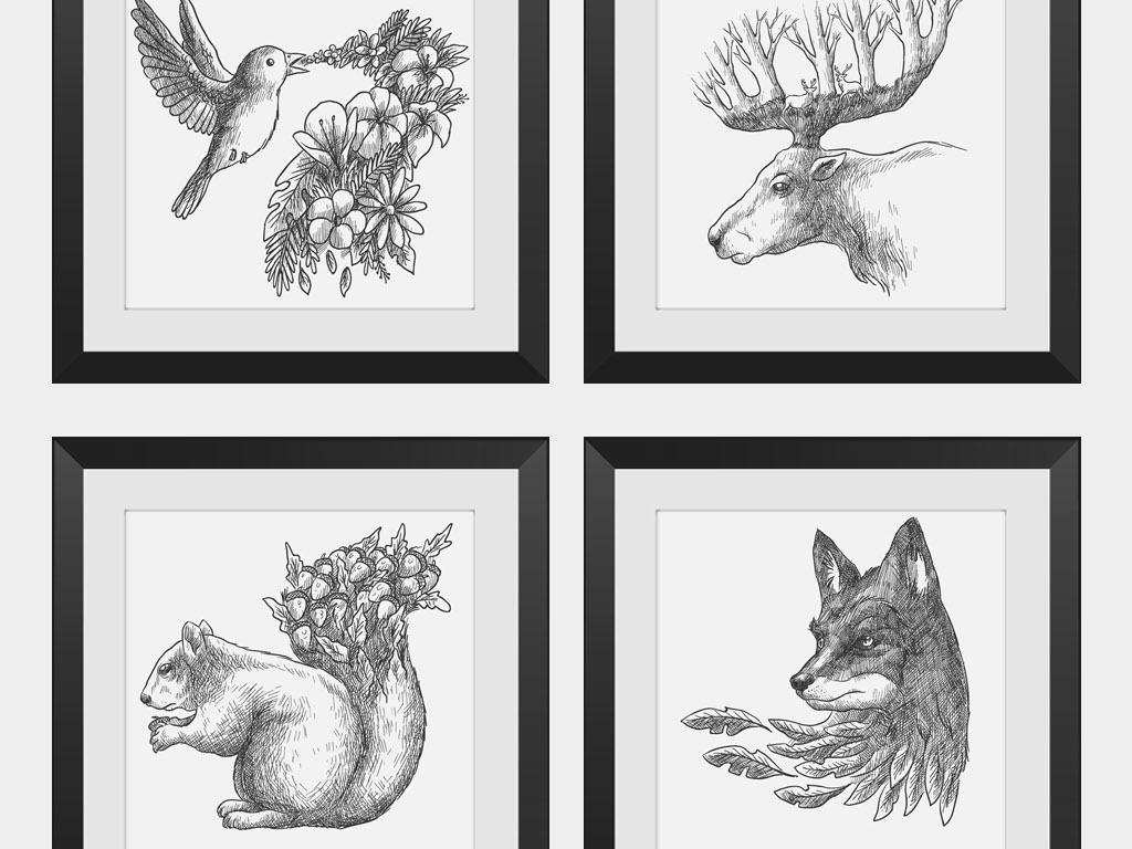 小清新北欧黑白线描动物无框画抽象装饰画