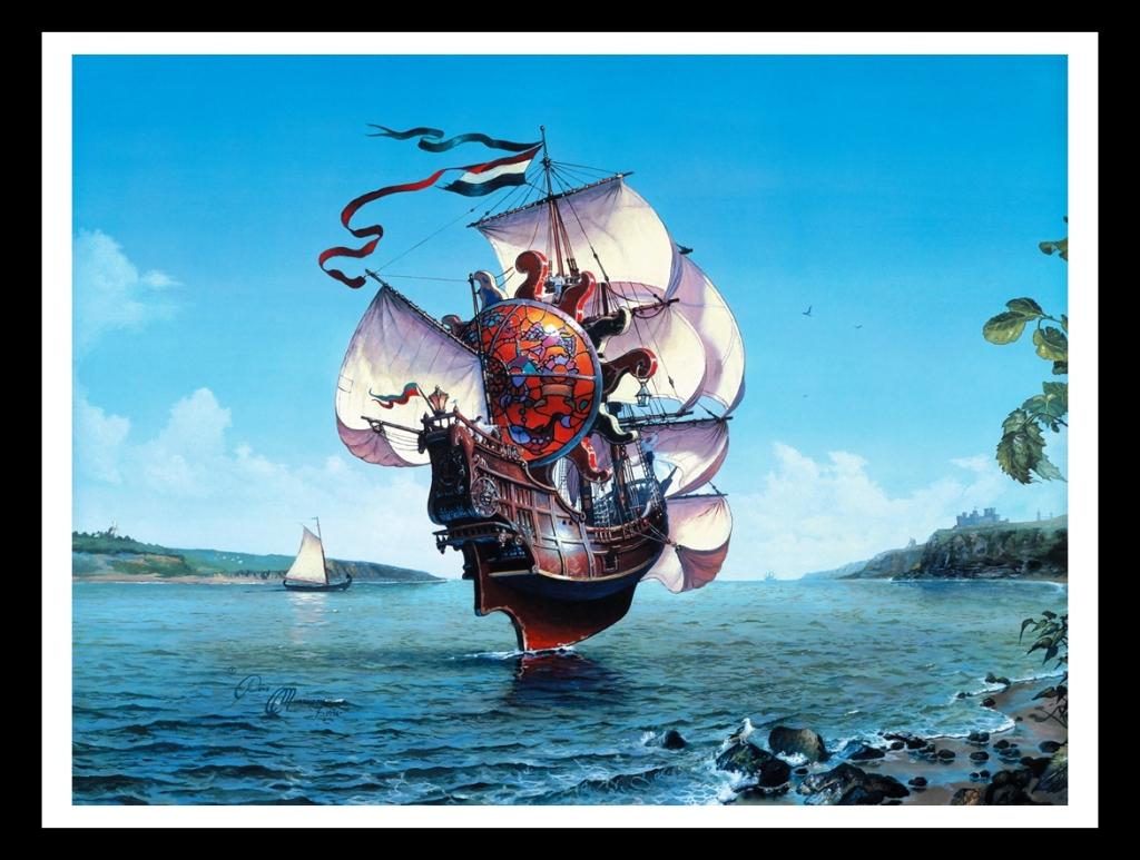 帆船幻彩鲜艳手绘色彩艺术背景墙装饰画