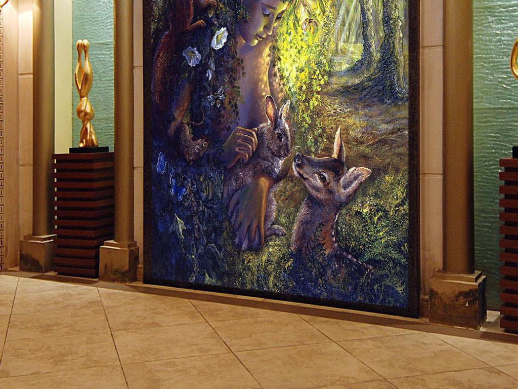 森林女神呵护欧式复古神话怀旧客厅玄关壁画