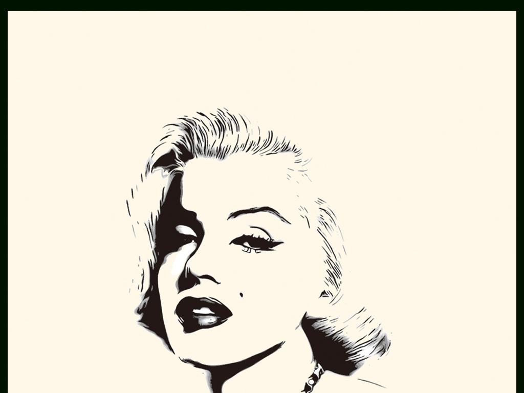 欧美玛丽莲梦露黑白艺术头像画册素材