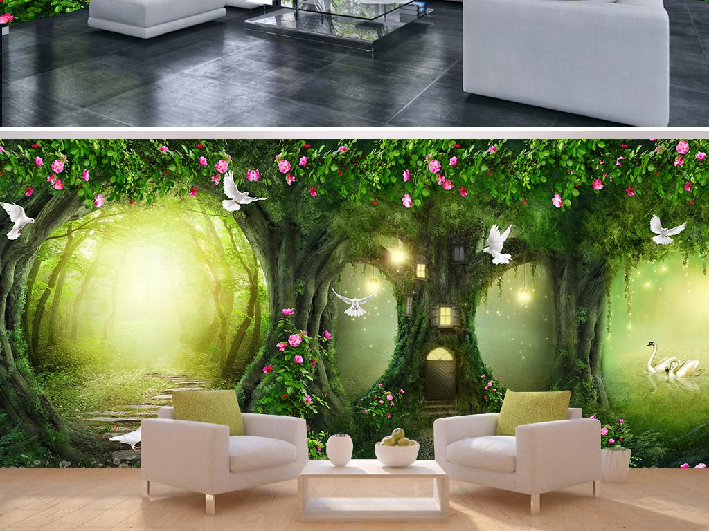 梦幻森林童话花藤树林全屋背景墙定制壁画