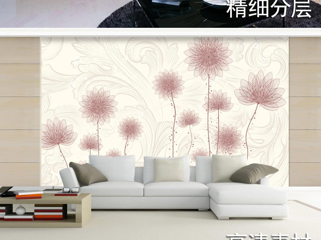 手绘花纹小清新现代简约电视背景墙151