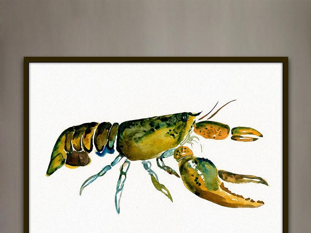 无框画 动物图案无框画 > 巨螯龙虾北美现代时尚水彩家居客厅装饰绘画