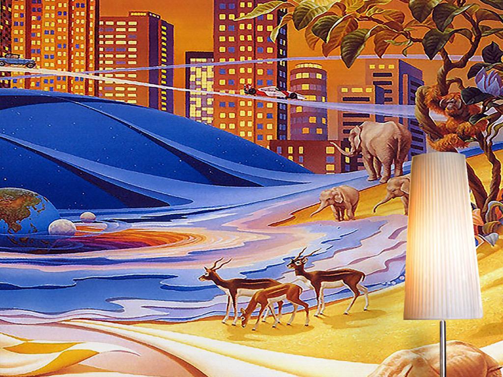 城市建筑创意太阳系行星动物世界卡通背景墙