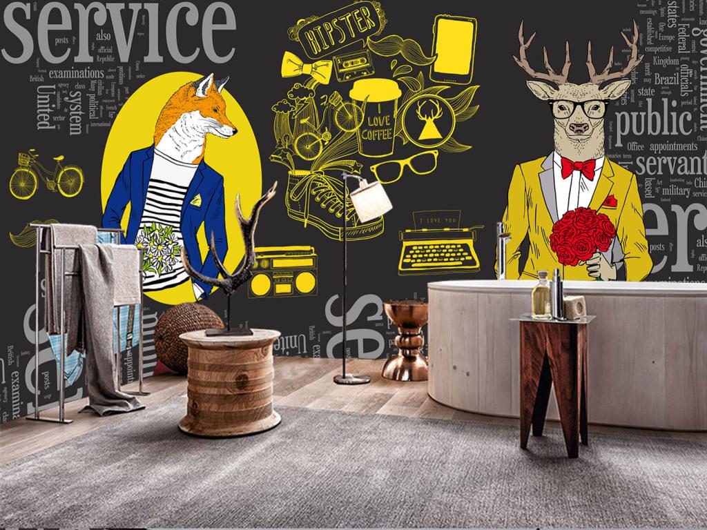 时尚潮男抽象动物时装秀服装咖啡店背景墙