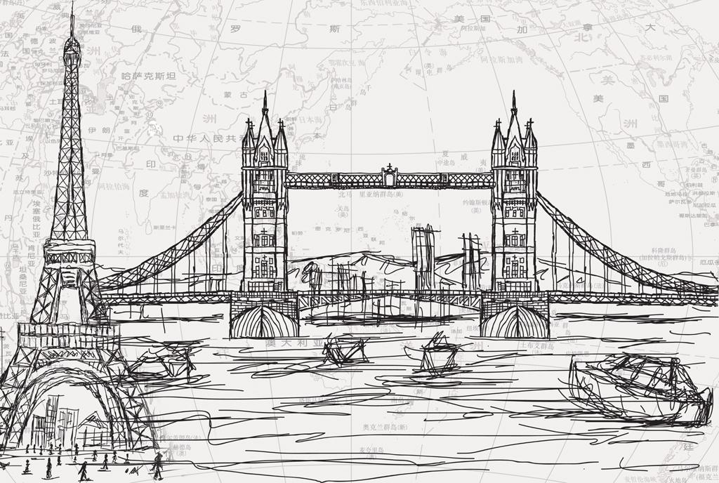 背景墙 电视背景墙 手绘电视背景墙 > 铁塔莱茵河畔伦敦塔桥巴黎建筑