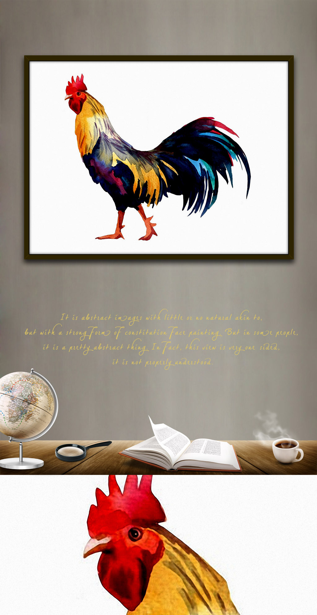 雄鸡大公鸡欧美现代水彩手绘家居客厅.