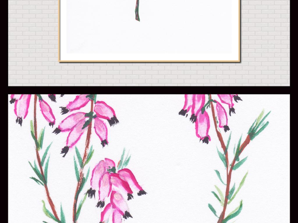 手绘简约铅笔花卉插画无框画图片