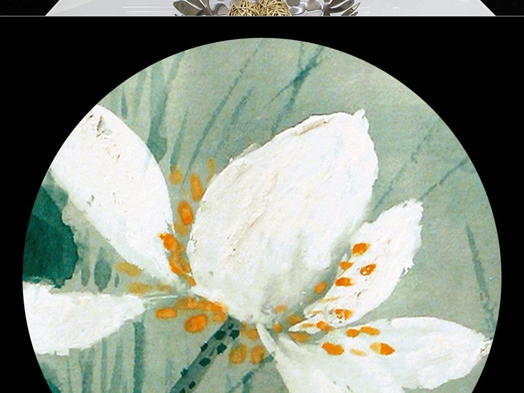 新中式手绘泼墨抽象荷花无框装饰画