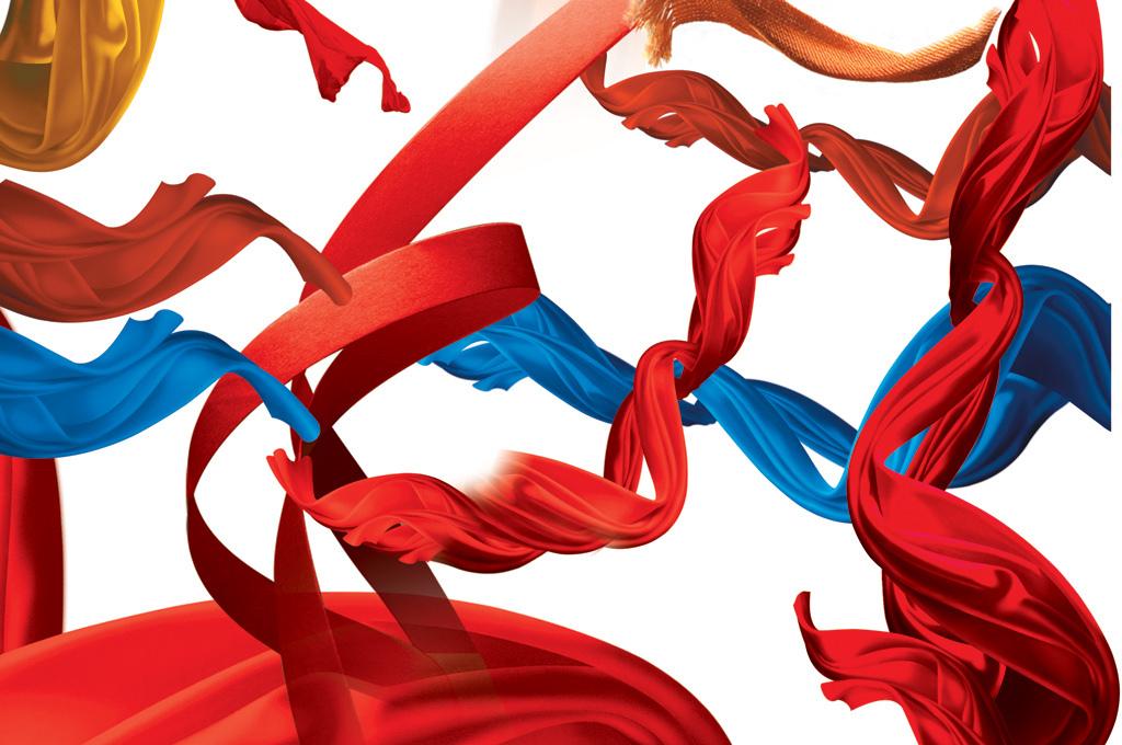 psd红色丝带绸带透明飘带素材