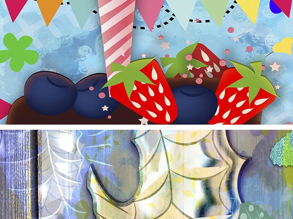 梦幻可爱卡通五彩蛋糕海马恐龙动物儿童油画图片