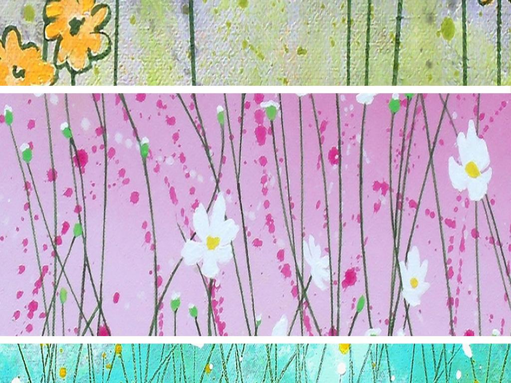 可爱清新绿草地白色黄色花卉花海风景油画