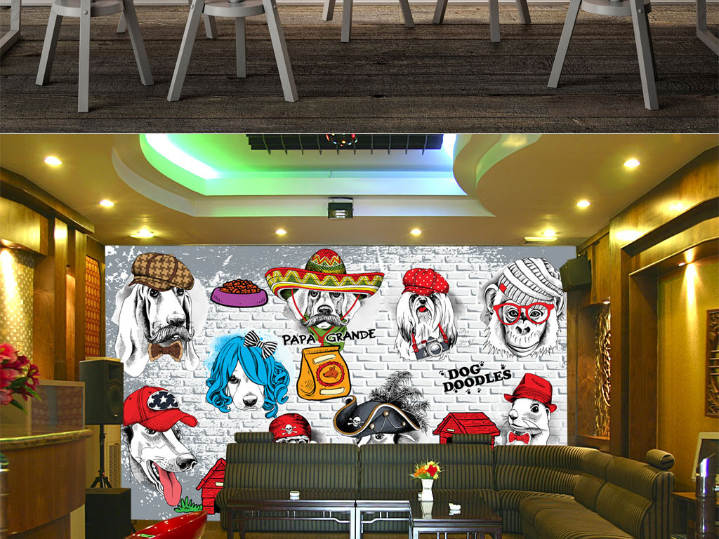 设计作品简介: 宠物店猫粮狗粮店铺背景墙装饰画 位图, rgb格式高清