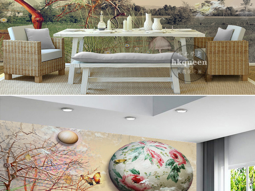 欧式抽象树枝气球蝴蝶复古抽象背景墙