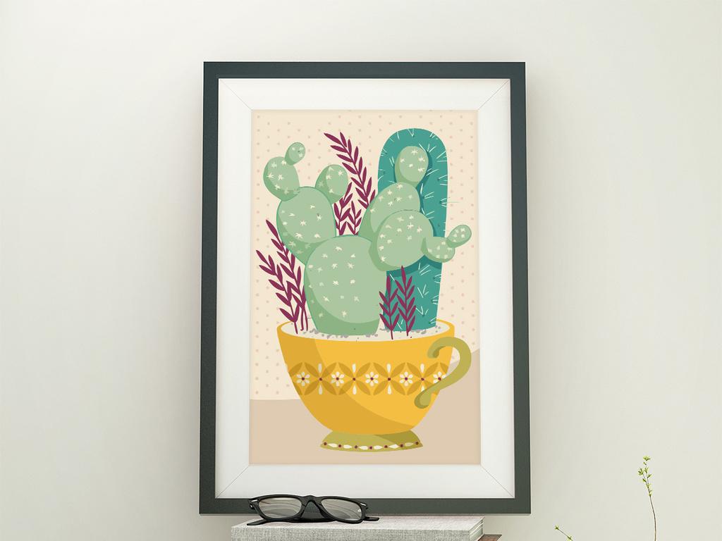 杯子仙人掌阳台植物仙人掌矢量手绘pop字手绘海报手绘效果图手绘pop
