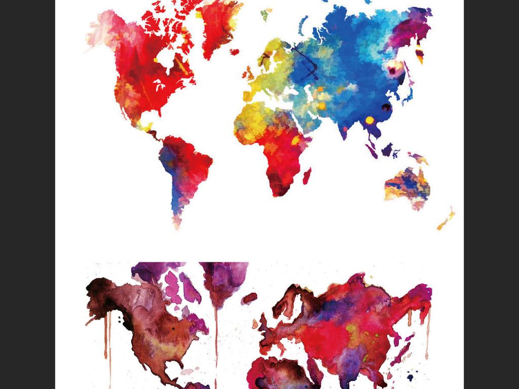 水彩世界地图创意世界地图